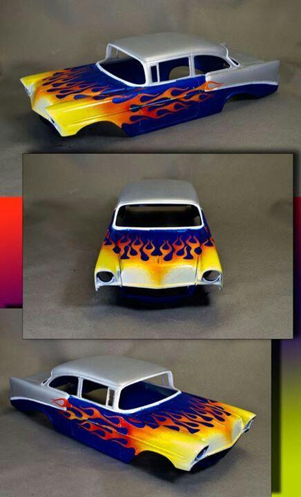 chevy flame custom paint job on a model car