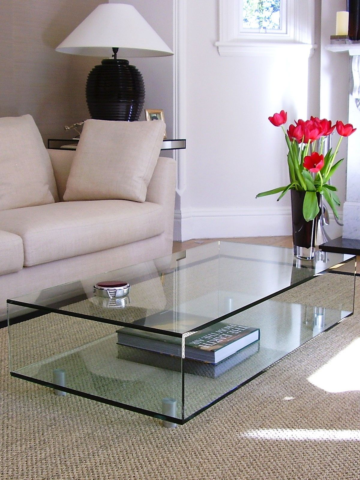 Rectangular Classic Coffee Table Glass Top Coffee Table