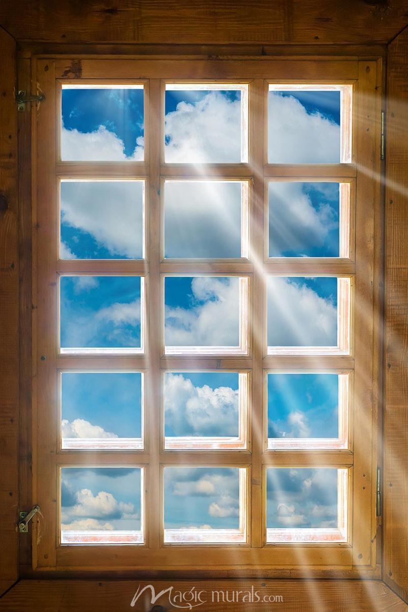 Sunbeam Window House Temperature Window Mural Rustic Window
