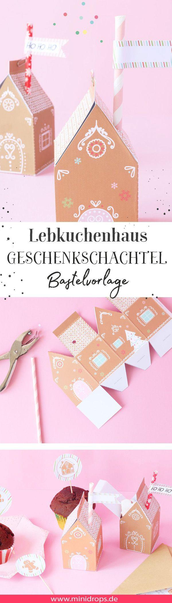 Lebkuchenhaus als Geschenkschachtel #gingerbreadhousetemplate