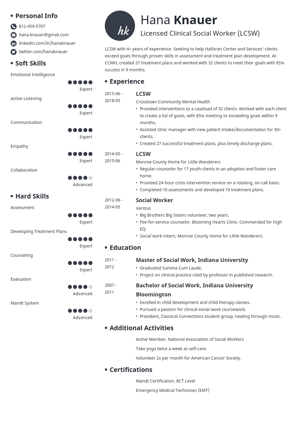 social work resume example template initials in 2020 Job