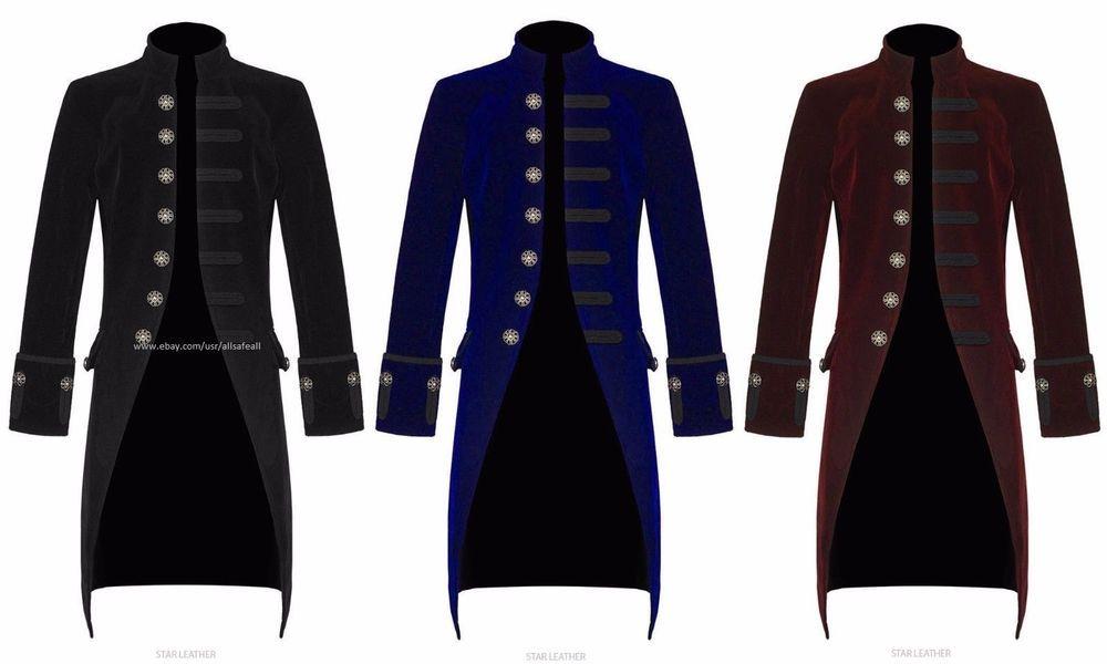 Darkrock Mens Jacket Velvet Goth Steampunk Victorian Frock Coat Handmade