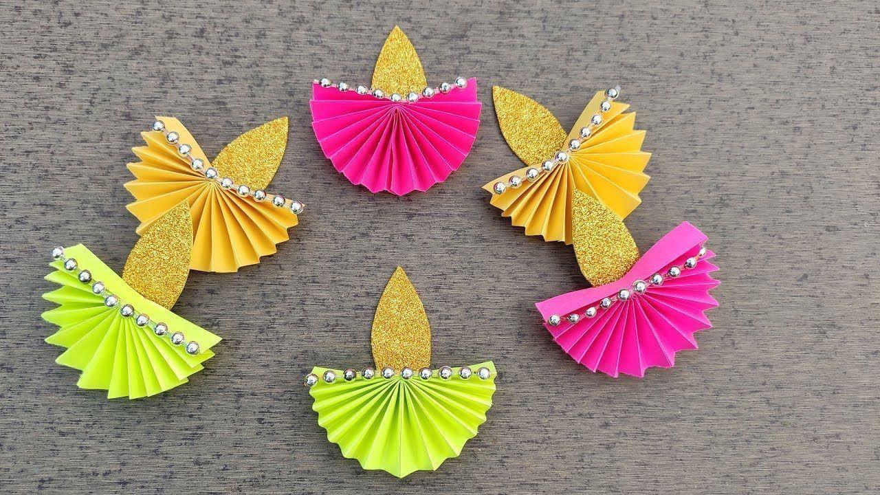 Diwali Dekorationsideen zu Hause // Diy Wie man Papier Diya macht // Einfache Diwali Dekorati...