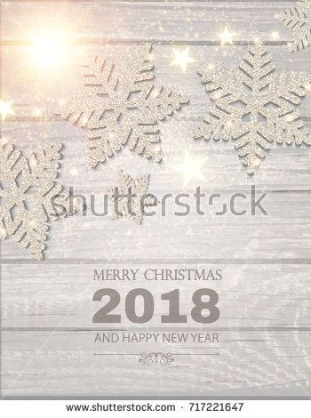 Merry Christmas Poster Template With Silver Snowflakes Shining