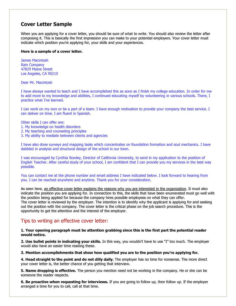 Cover Letter Example For Teacher  Resume And Cover Letter Help