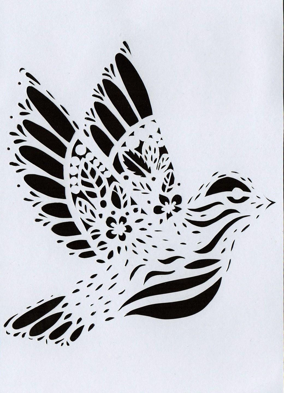 Carte postale kirigami papier d coup oiseau noir fond blanc art make some pinterest - Modele de coeur a decouper ...