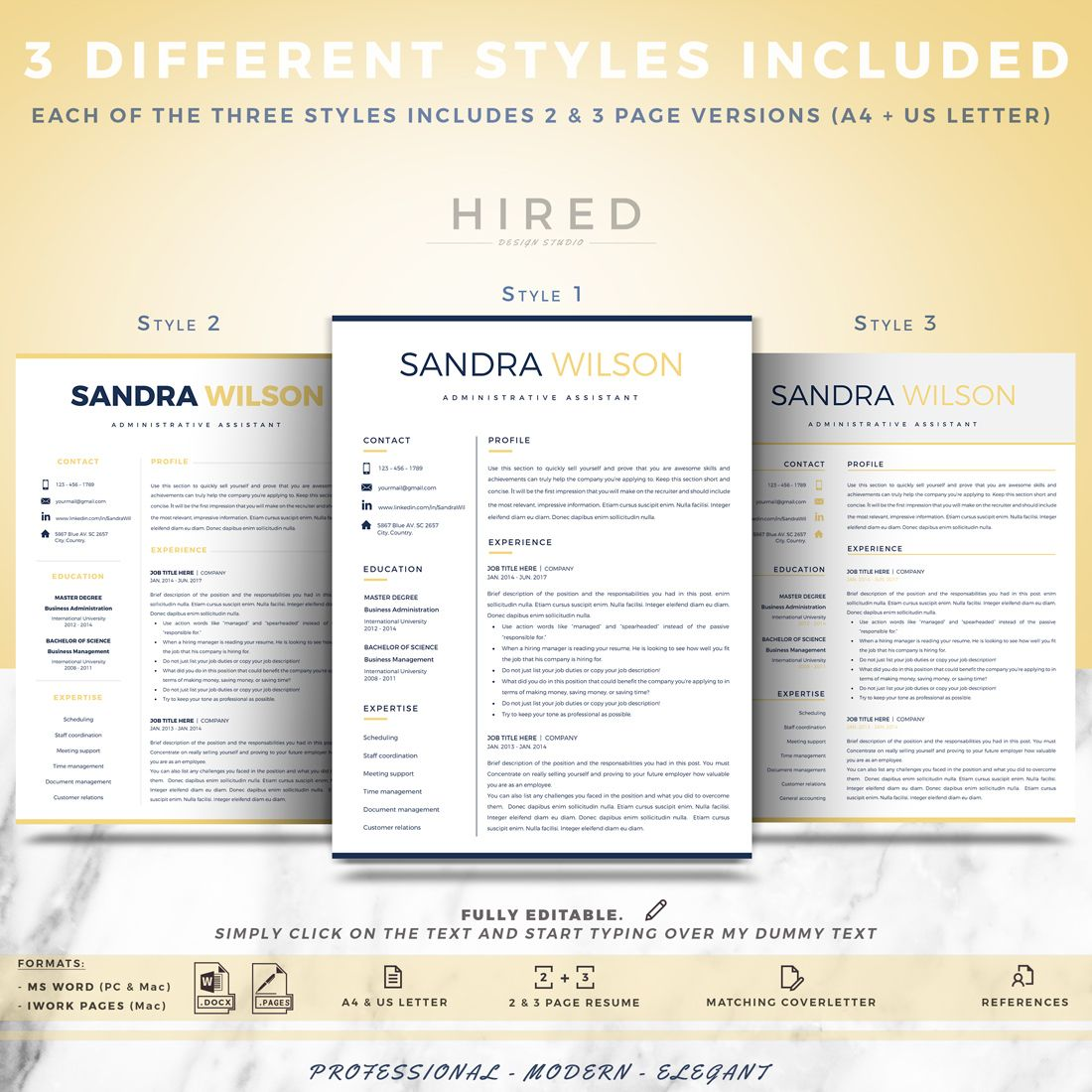 Modern Resume templates | Professional Resumes for Ms Word & Pages ...