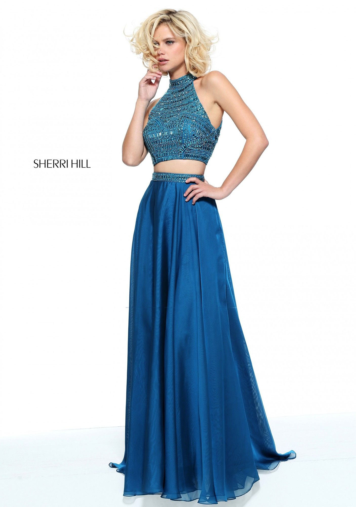 092481f3c3 Make the right prom dress choice with Sherri Hill 50809. This stunning  beaded crop top
