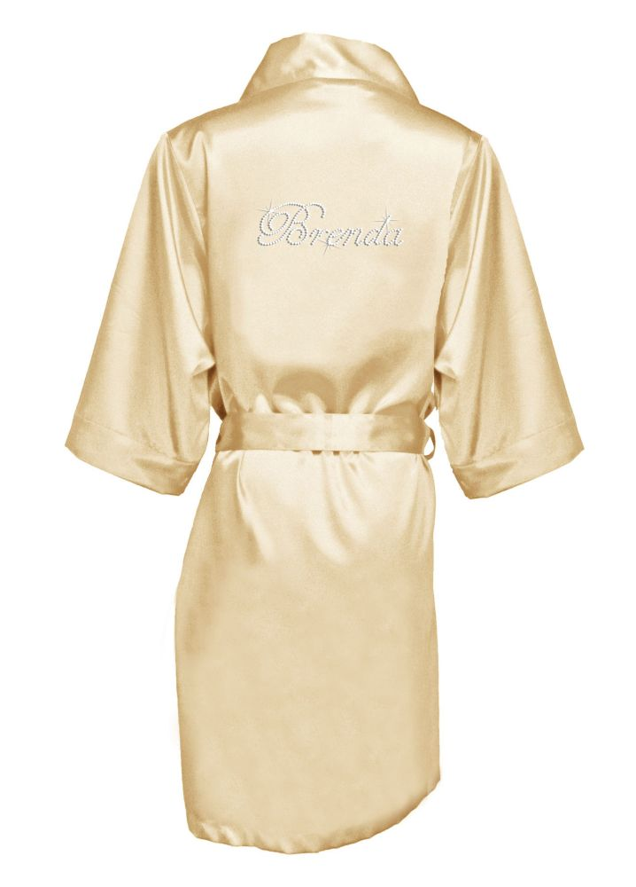 271e3ae979 Personalized Rhinestone Bridesmaid Name Satin Robe - Champagne (Yellow)