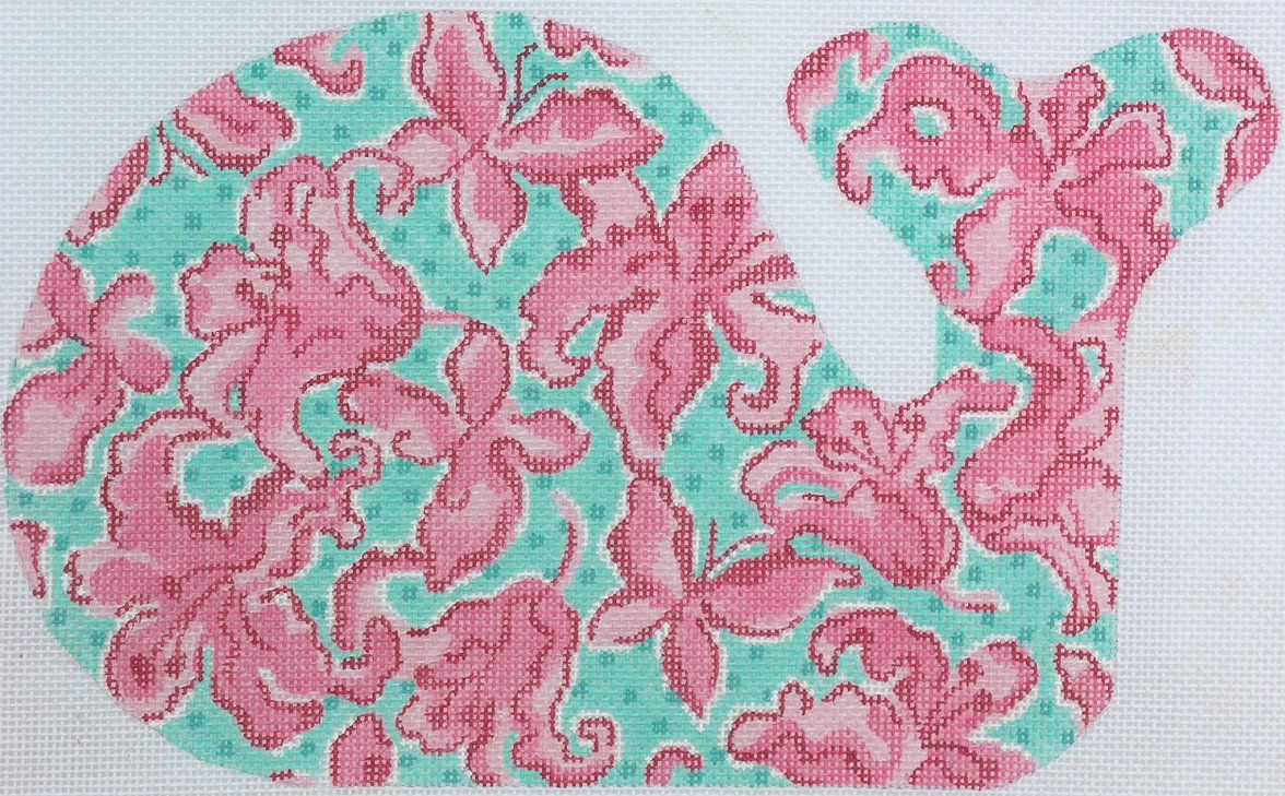 Lilly-inspired whale pink lilies on turquoise