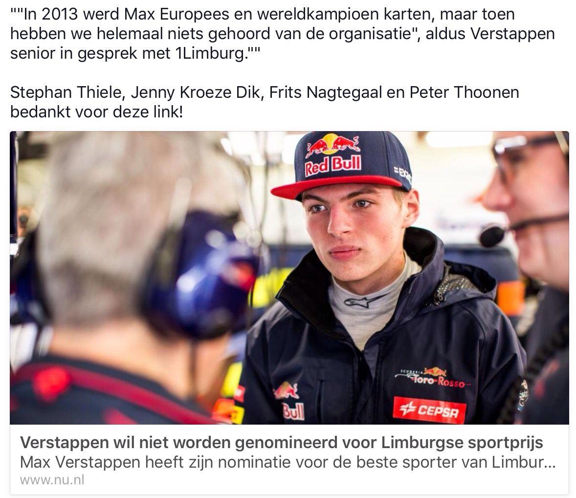 Max weigert Limburgse Sportprijs nominatie