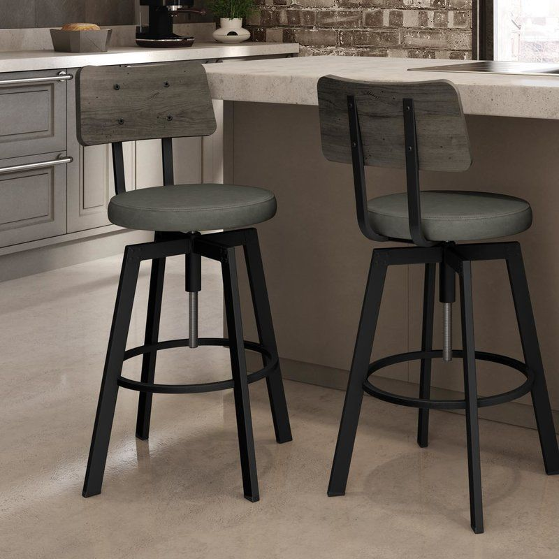Lorri Adjustable Height Swivel Bar Stool Bar Stools Swivel Bar Stools Bar Stools With Backs