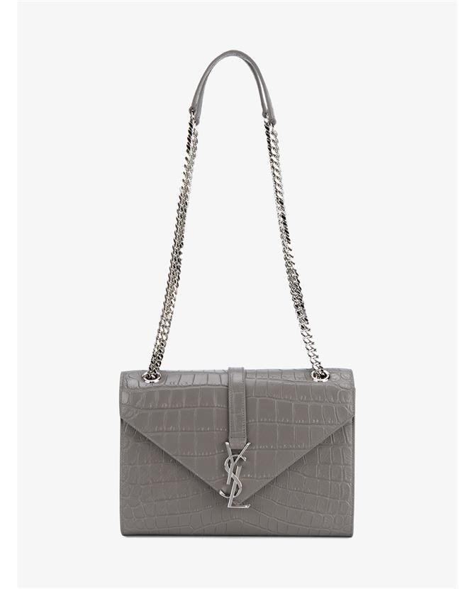 5e61883cc60e SAINT LAURENT Leather Crocodile Print Monogram.  saintlaurent  bags  shoulder  bags  leather  lining  denim  cotton