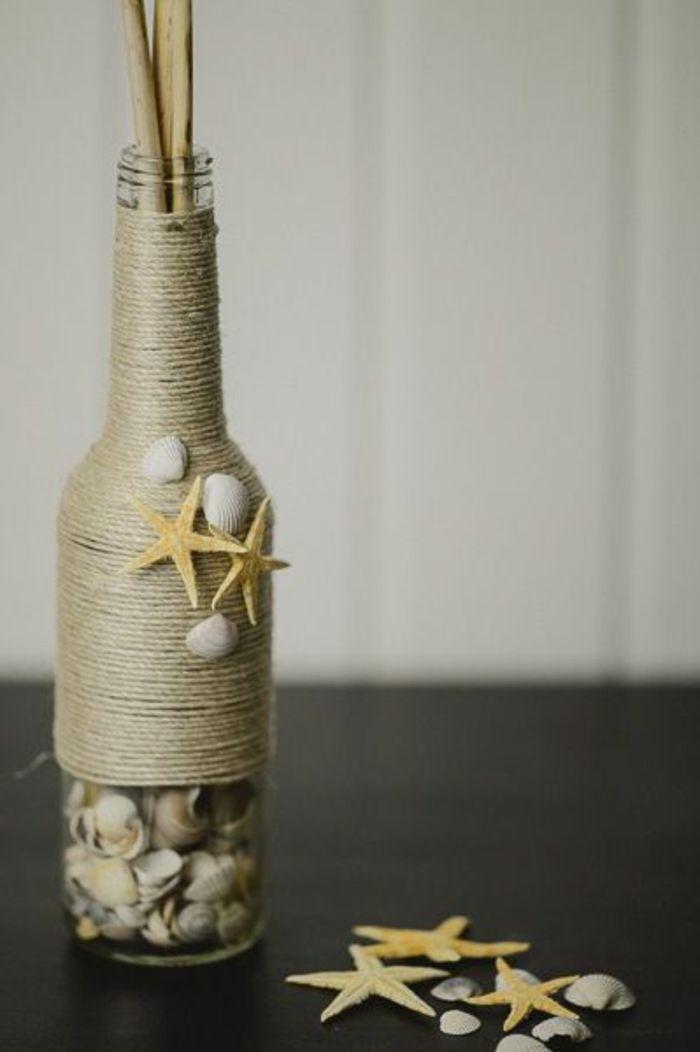 Maritime Deko Basteln Vase Aus Flasche Selber Machen Jutegarn Und Muscheln