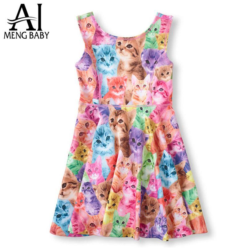 Retail 1 unids 2015 Nuevo vestido de la muchacha niños ocasional del ...