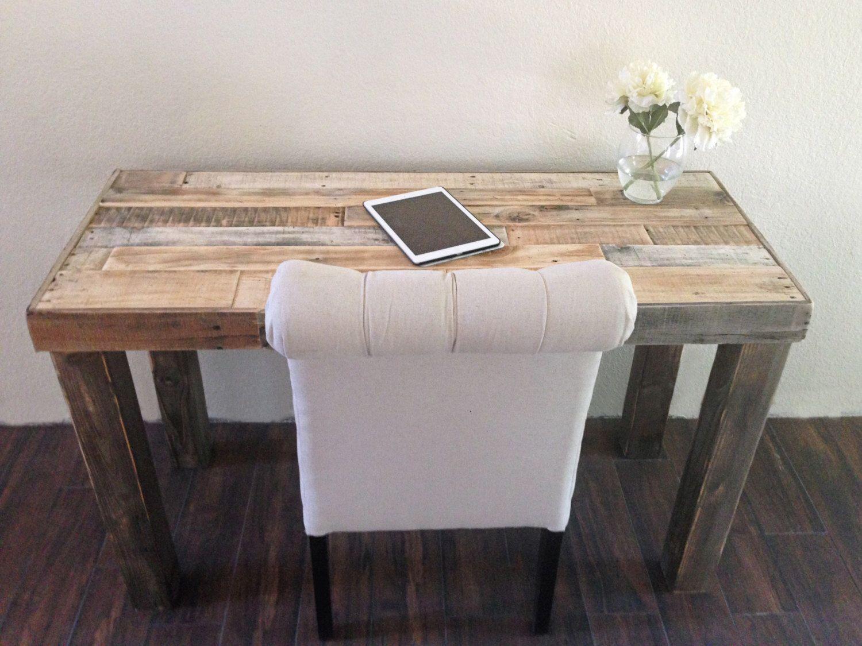 Reclaimed wood modern rustic desk work table laptop station
