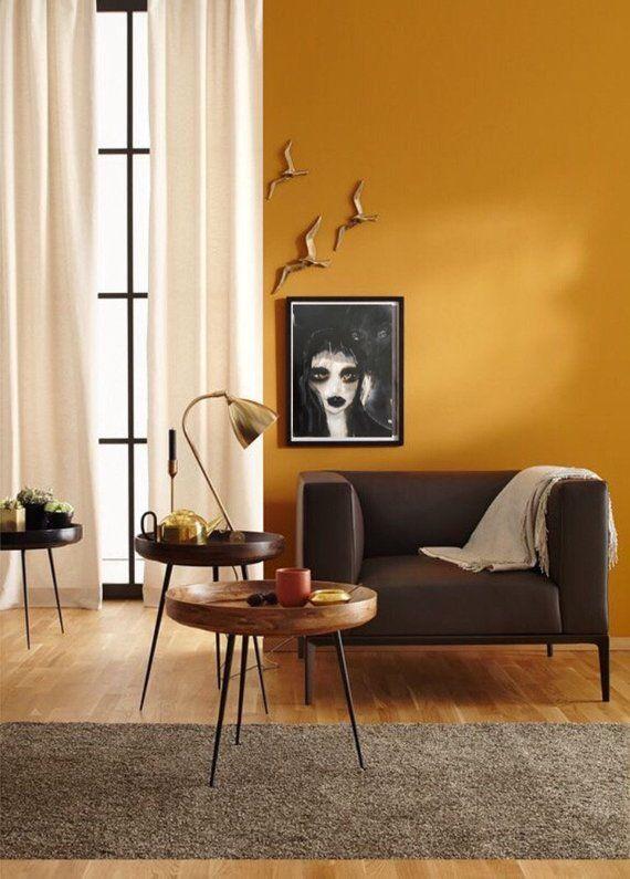 Dark art print gothic home decor black woman poster creepy portrait painting also rh pinterest