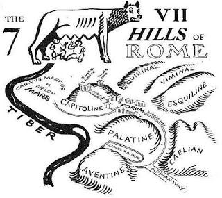 The 7 Hills of Rome east of the river Tiber form the geographical