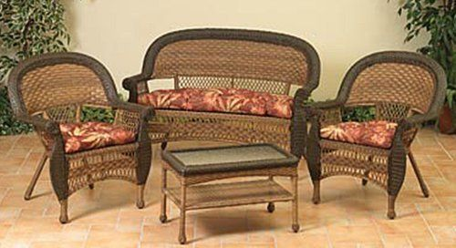 4 Piece Two Tone Brown Resin Wicker Patio Set Table Loveseat And Chairs By Gerson 599 99 4 Pi Resin Patio Furniture Wicker Patio Set Patio Furniture Sets