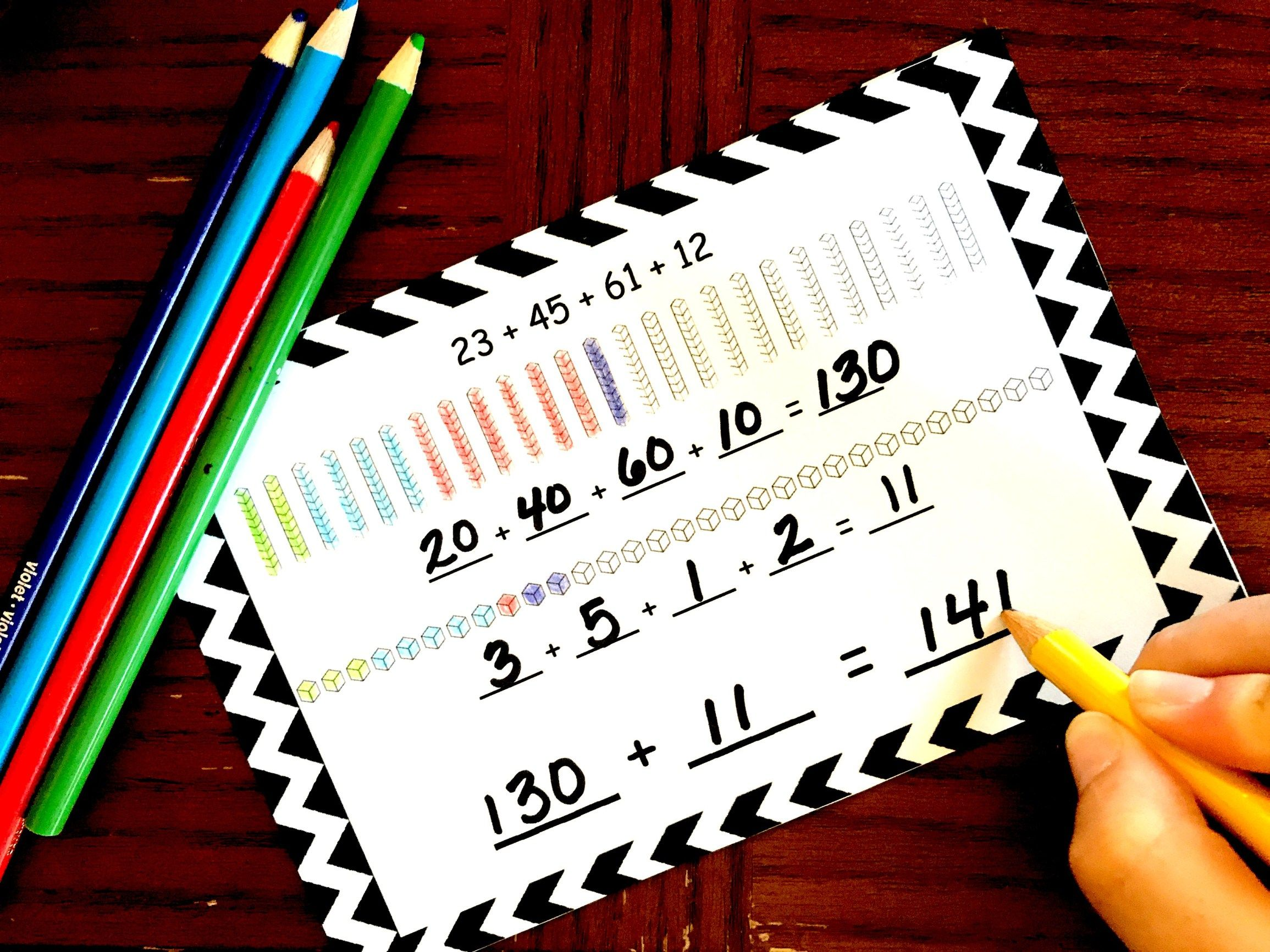 This fun game is a great way to practice Adding Four Two-Digit Numbers using place value to help. Have fun playing dominoes and adding at the same time.