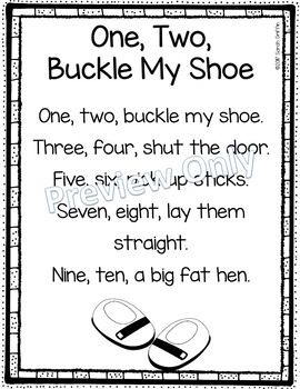 One Two Buckle My Shoe Nursery Rhyme Poems For Kids Poetry