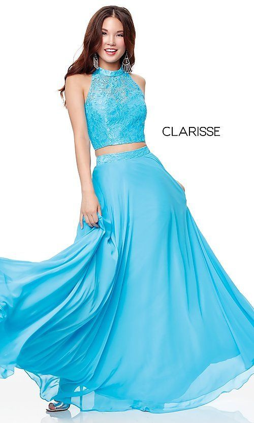 6dcef995f36 Image of long two-piece chiffon prom dress with lace top. Style  CLA-3427  Detail Image 4