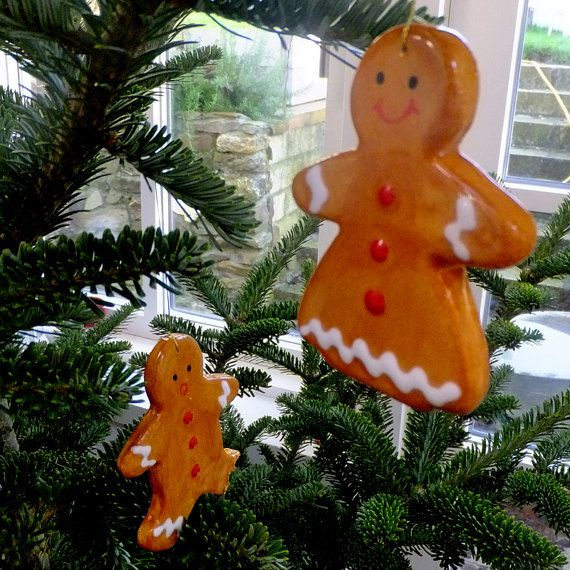 Gingerbread tree decorations ceramic by GilbertandStone on Etsy
