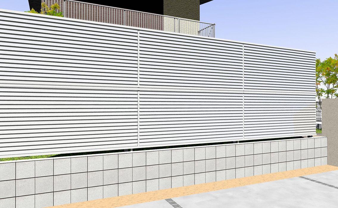 ミエーネフェンス 目隠しルーバータイプ 2段支柱 自立建て用
