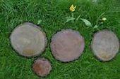 Photo of Concrete Mold Log Stepping Stone Garden Path sold set 2 pcs ABC plastic S07  | e…