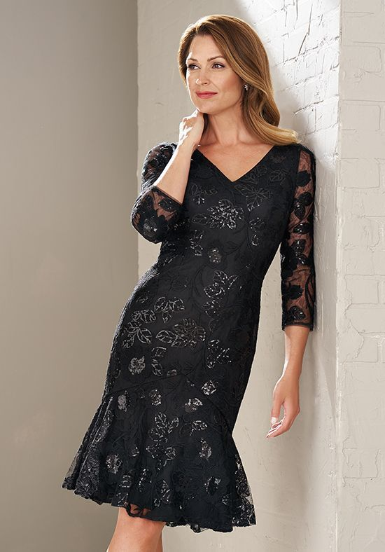 321c80cd143c Beautiful knee length Mother of the Bride Dress made with Adeline Sequin  Lace with Stretch lining. Flattering V-neckline and long lace sleeves.