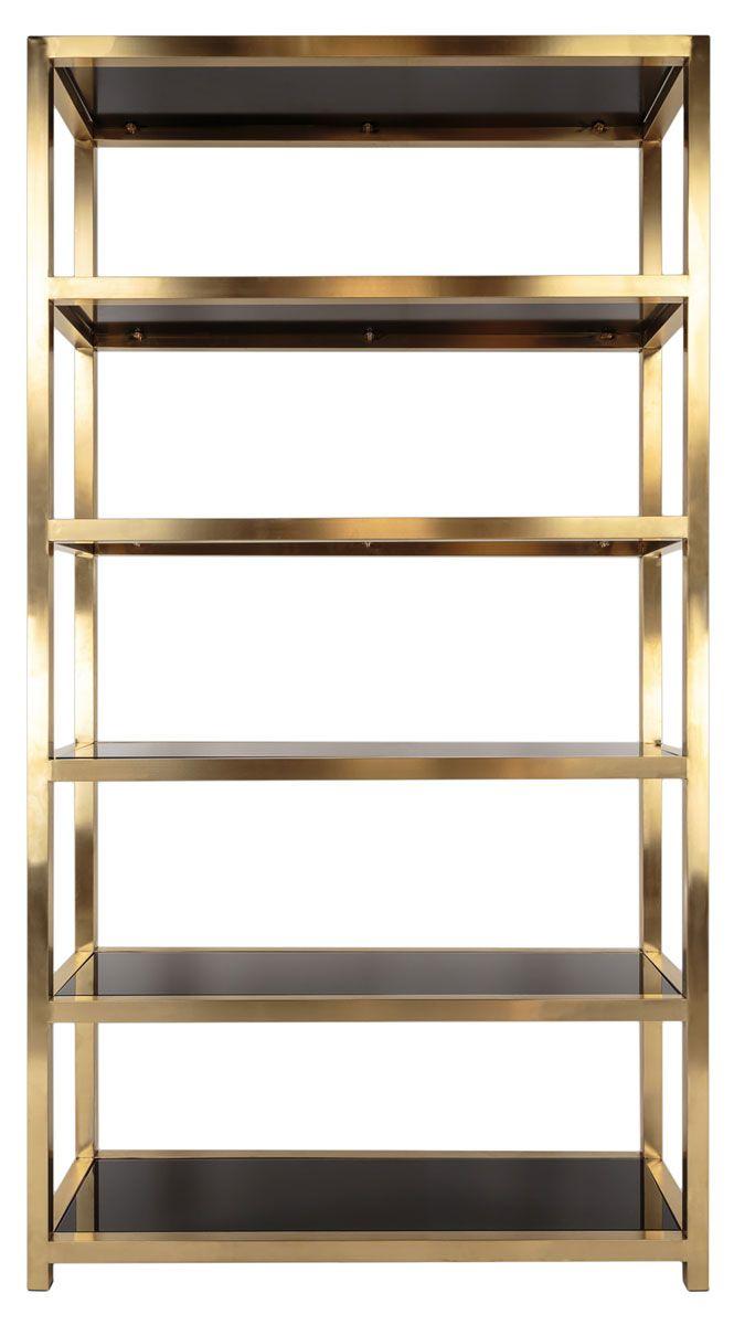 Contemporary Metal Glass Bookcase Safavieh Com Glass Bookcase Bookcase Glass Shelves
