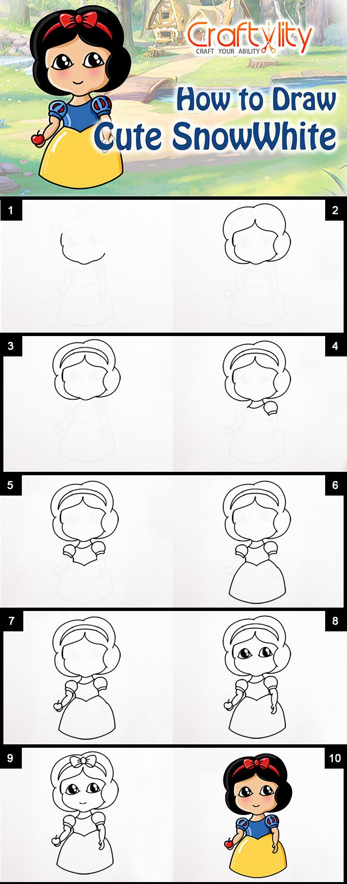 How to draw princess jasmine from aladdin printable step by step - Follow Easy Step By Step Instructions On How To Draw Cute Disney Princess Snow White