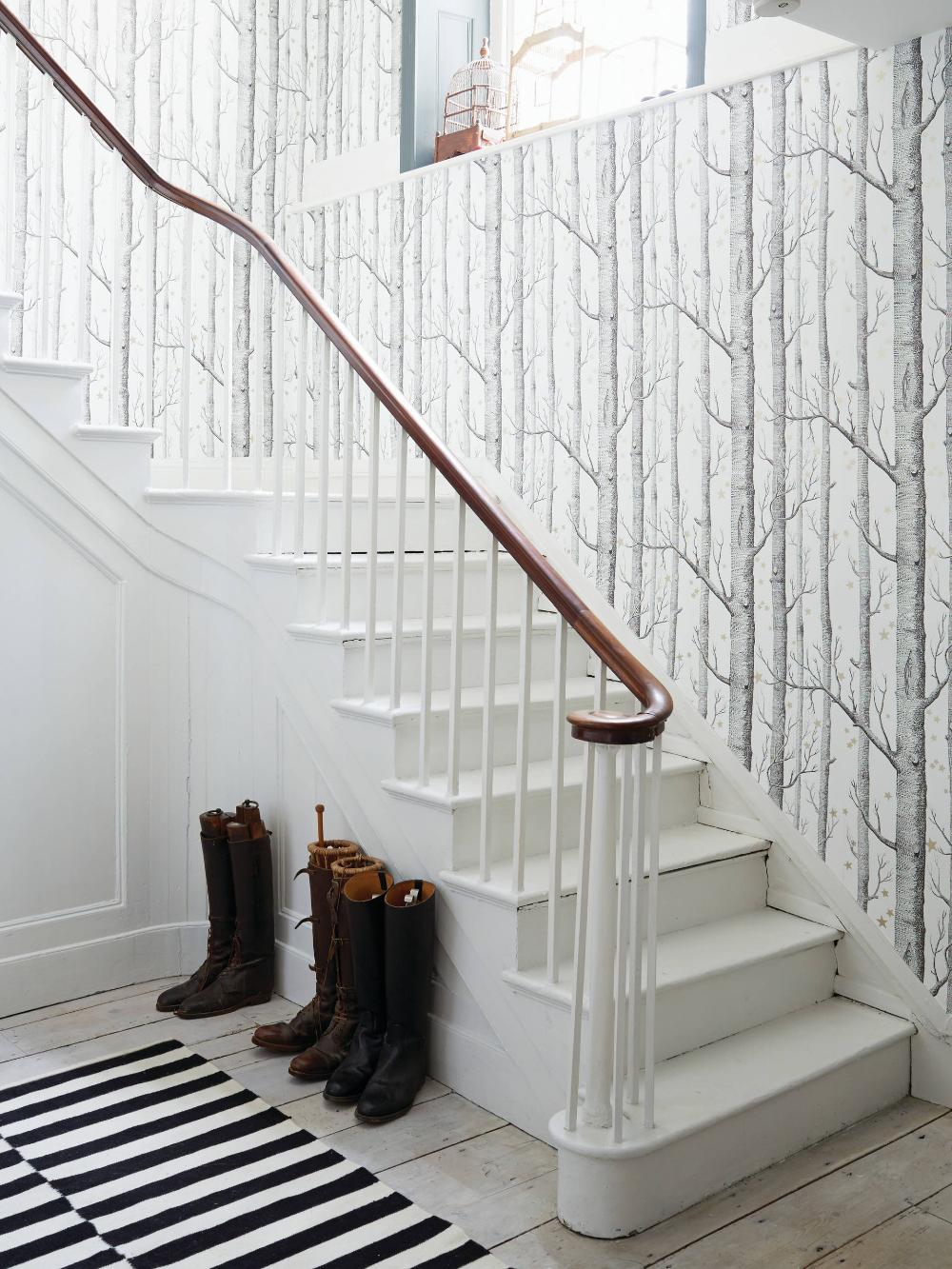 Hallway wallpaper ideas Scandinave Escalier Sussex