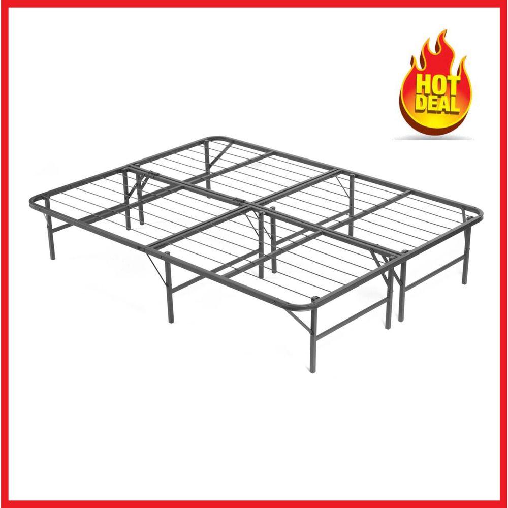 Metal Platform Bed Frame Heavy Duty Mattress Foundation Folding