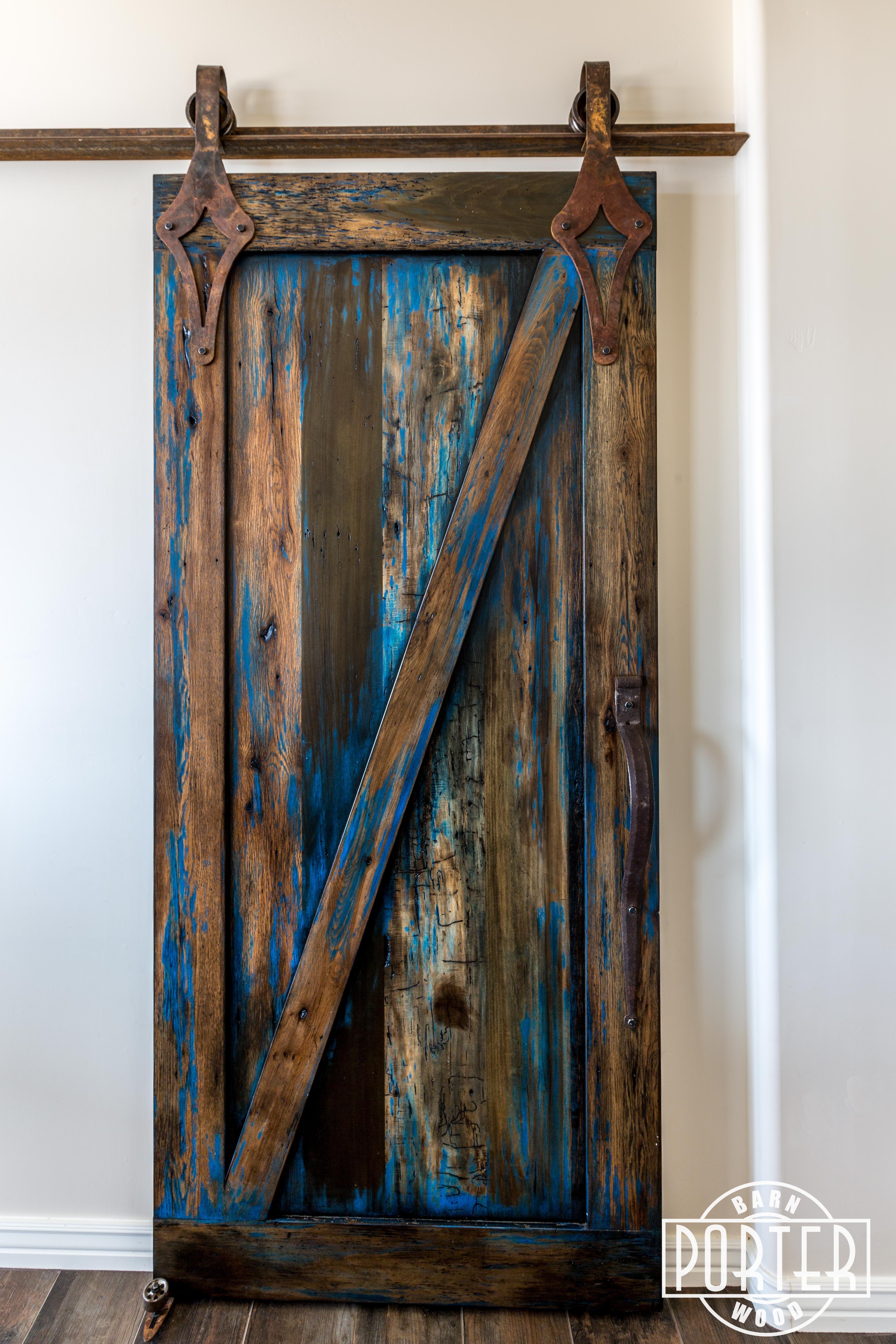 Blue Stained Sliding Door Barn Doors Barn And Hardware