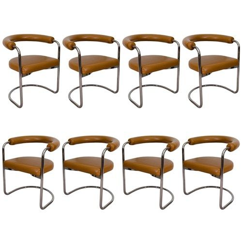 eight vintage 'Delphi' chairs with cantilever seats and chrome steel tube frames by Ernst Burgdorfer for Stendig