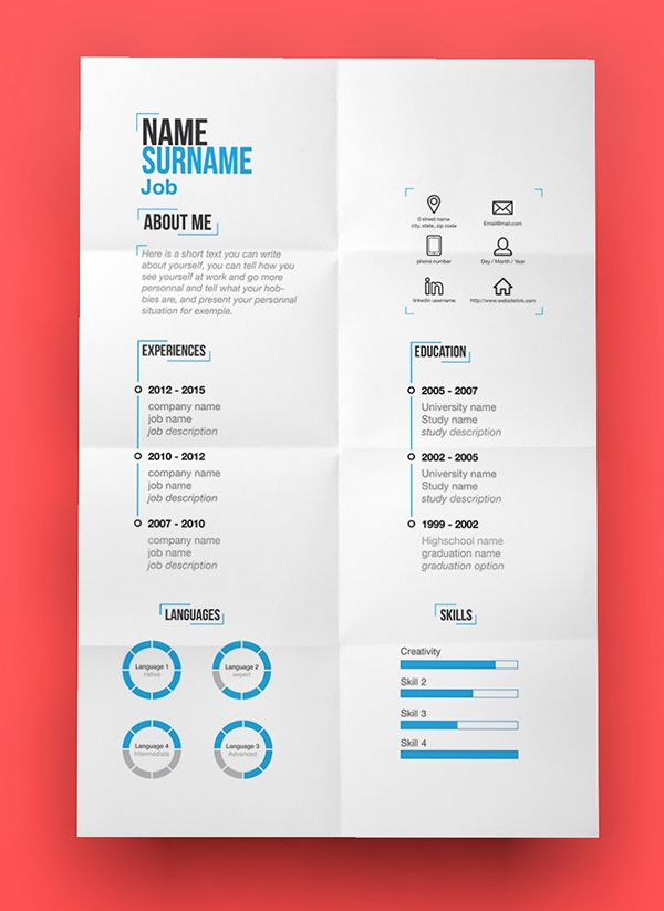 Free Modern Resume Template (PSD) #freepsdfiles #freebies - creative free resume templates