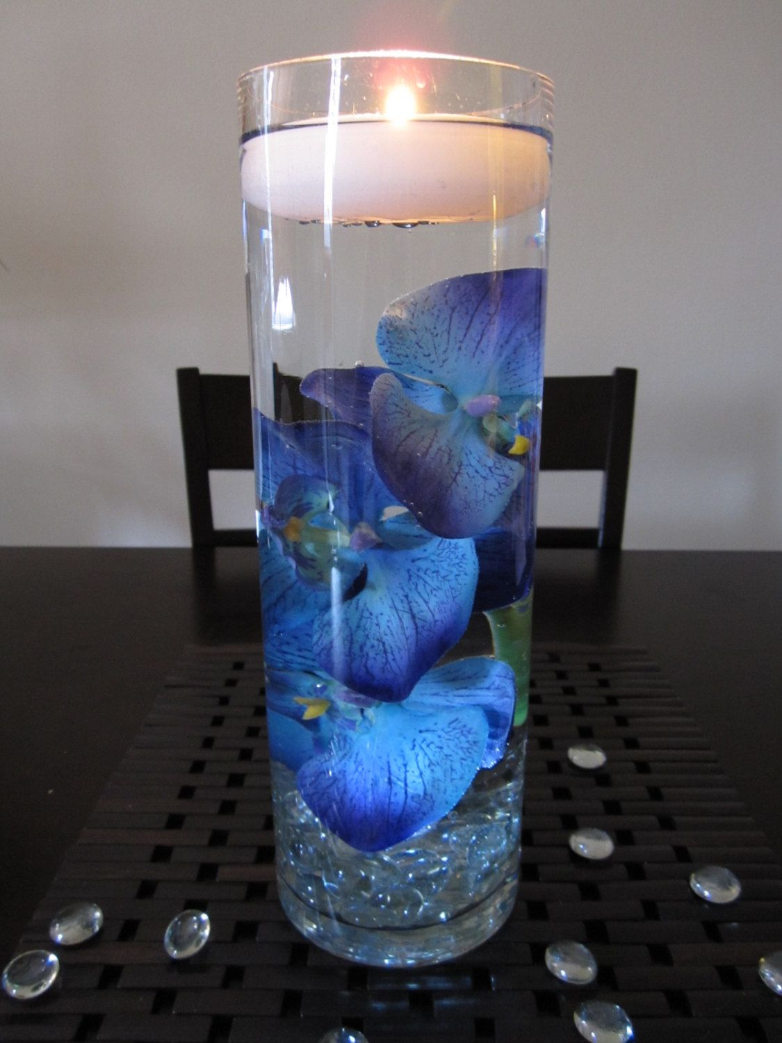 Blue purple orchid floating candle wedding centerpiece for Candle centerpieces for weddings ideas