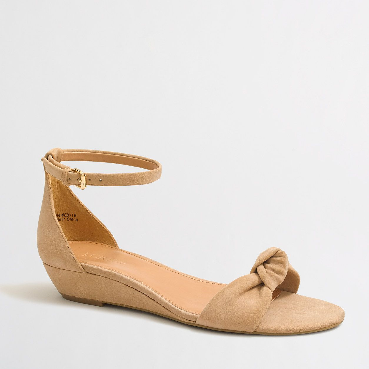 b1a77aae40f1 Suede demi-wedge sandals with top knot   FactoryWomen Sandals
