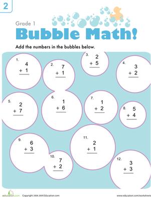 Bubble Math Worksheet Education Com 1st Grade Math Worksheets Math Math Worksheet