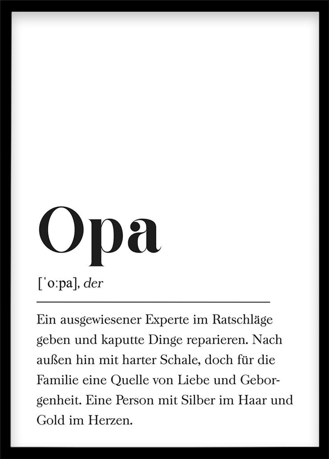 Opa Definition, Geschenk für Großvater,  Geburtstag für Großeltern Poster mit Text, Skandinavisch Schwarz Weiß #persönlichegeschenke