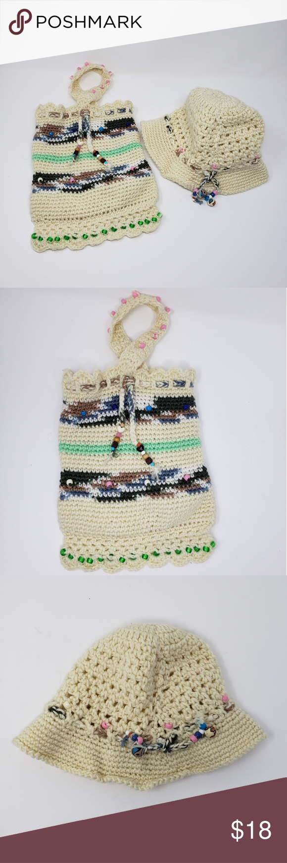 Vintage Crocheted Hat and Purse