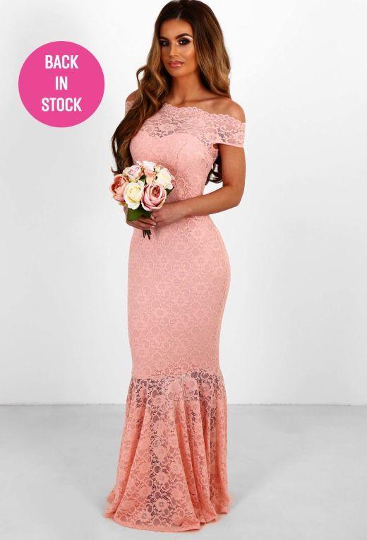 a77b00b56785 Hopeless Romantic Pink Lace Fishtail Maxi Dress - 8 | Pinkboutique ...