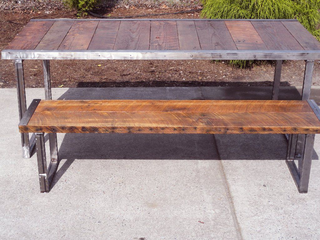 8 Ft Industrial Bench With Rectangular Steel Legs And Raw Trim