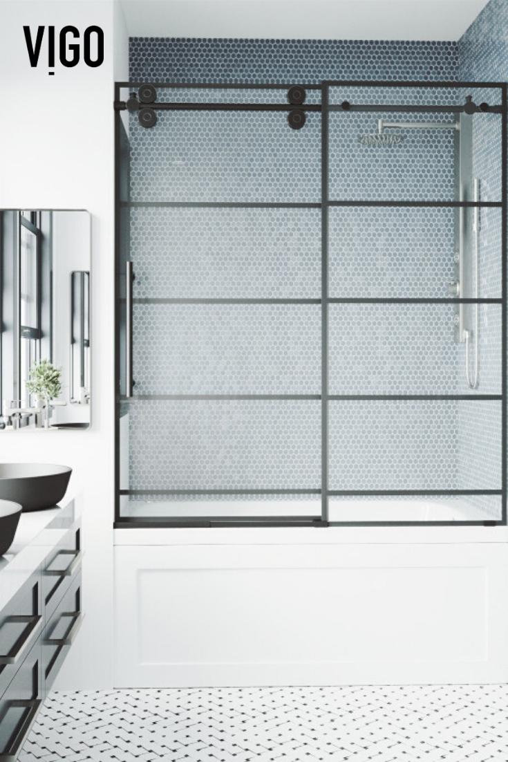 Vigo Grid Elan Adjustable Sliding Tub Door In Matte Black In 2020 Tub Doors Elegant Bathroom Design Elegant Bathroom