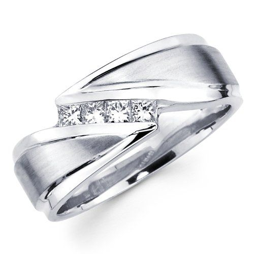Simple White Gold Princess Diamond Men us Couple Wedding Ring