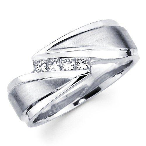 Bon White Gold Princess Diamond Menu0027s Couple Wedding Ring