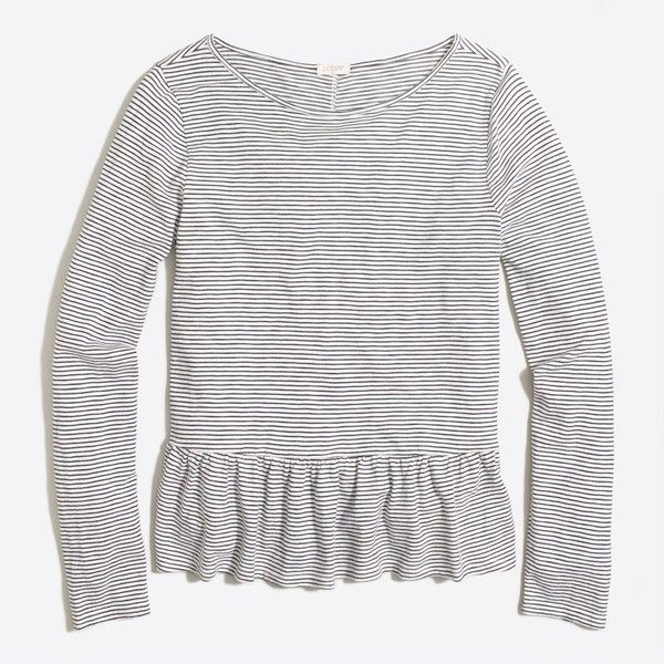 4847bdcd03 J.Crew Long-sleeve striped ruffle-hem T-shirt ($28) ❤ liked on Polyvore  featuring tops, white boxy top, ruffle hem top, boxy tops, striped long  sleeve top ...