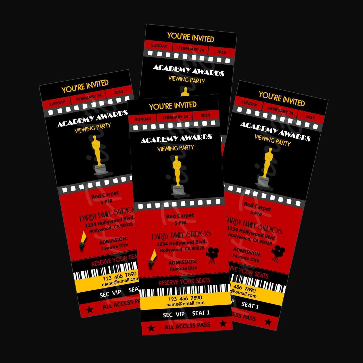 printable academy awards oscars hollywood party event ticket