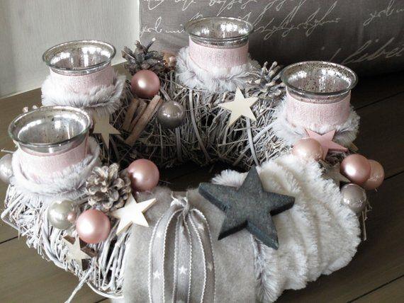 edler Adventskranz  * weiß-rosa Kuschelzeit  * Weihnachtskranz #adventkransen